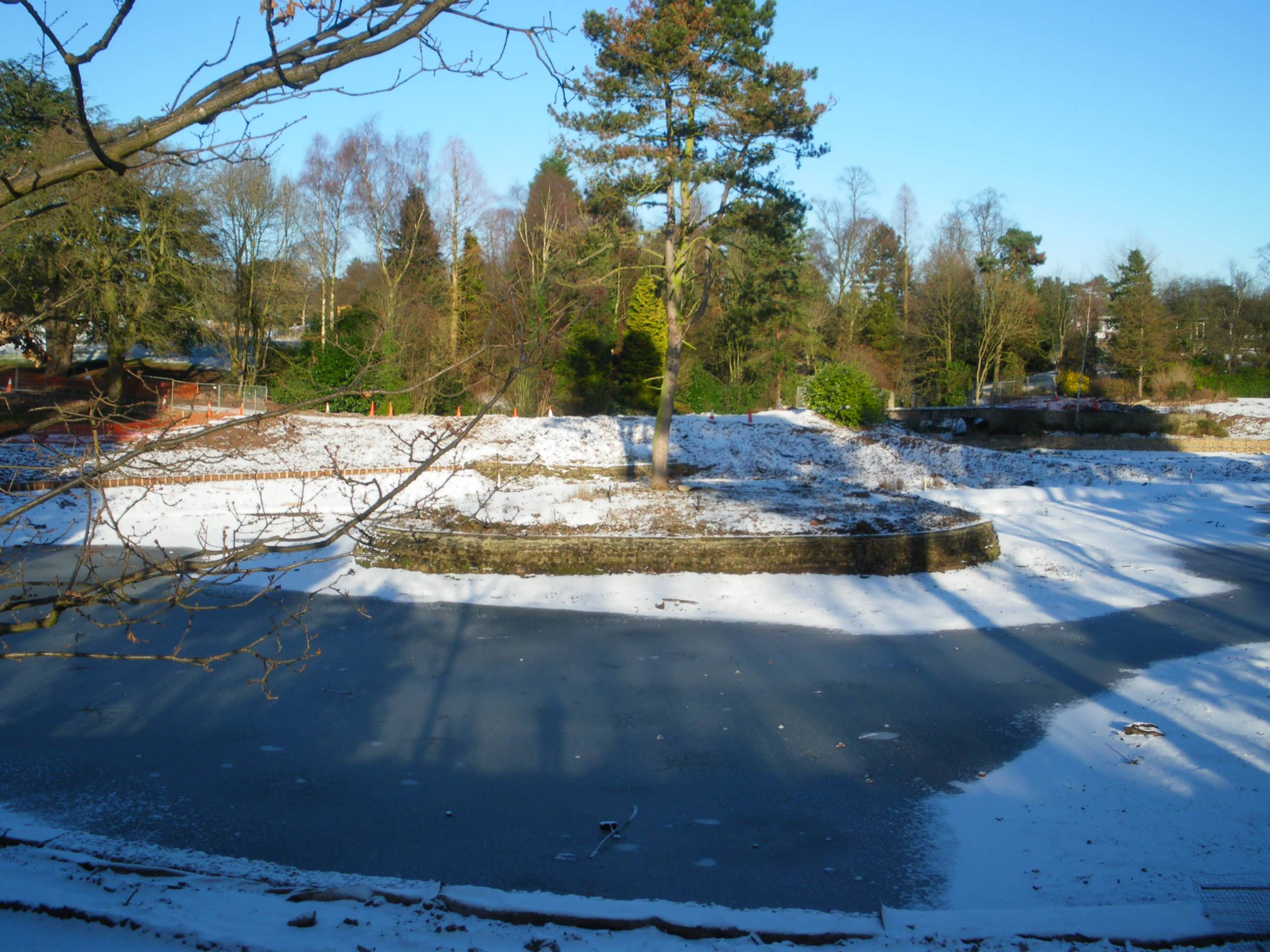 Winter scene of Queens park lake